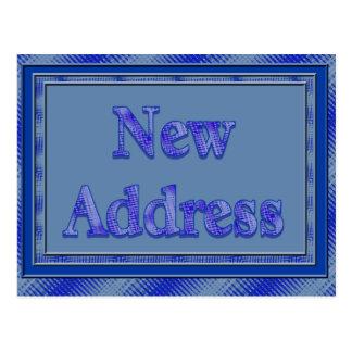 Ny adress blåttpläd vykort