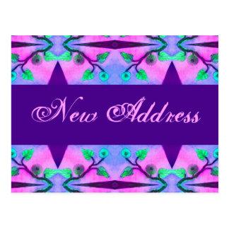 Ny adress blommigt vykort