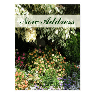 Ny adress blomsterträdgård vykort