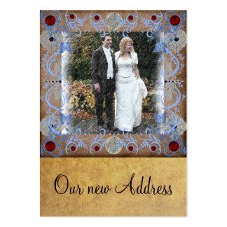 Ny adress bröllopphotocardvisitkort set av breda visitkort