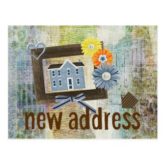 Ny adress Collage för blåtthusScrapbooking stil Vykort