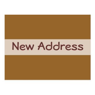 Ny adress enkel brunt vykort