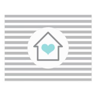 Ny adress flytta för elegant randhushjärta vykort