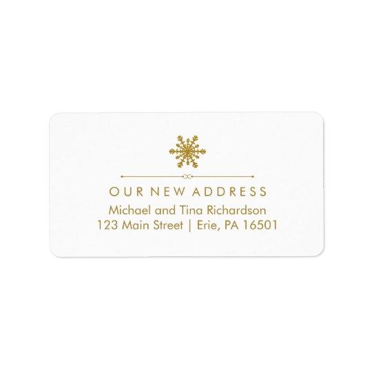 Ny adress Glam guld- Snowflake för jul Adressetikett