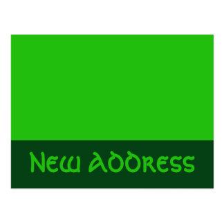 ny adress grönt vykort
