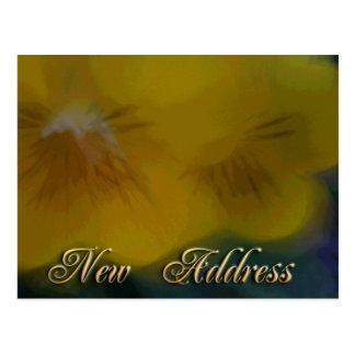 Ny adress gula blommor vykort