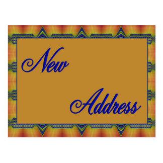 ny adress gult och blått vykort