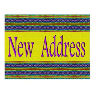 Ny adress gult och turkos vykort