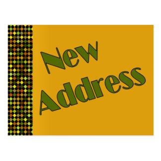 Ny adress mörkgult vykort