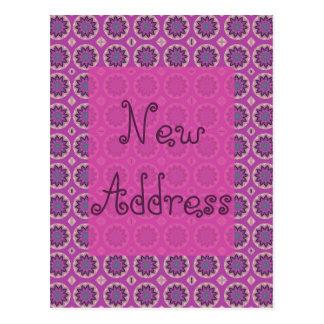 Ny adress nätt rosa blommönster vykort