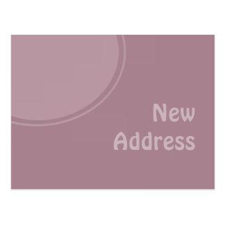 ny adress pastellfärgad purpurfärgad mod vykort