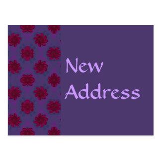 Ny adress purpurfärgad röd blommönster vykort
