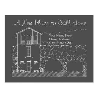 Ny adress svart tavlapersonlig för grå färg & för vykort