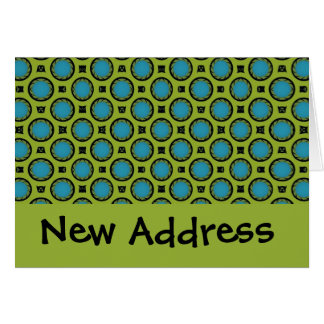 ny adress turkosgrönt cirklar hälsningskort