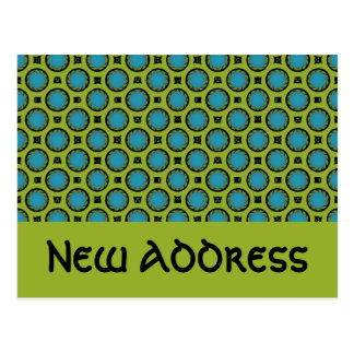 Ny adress turkosgrönt vykort