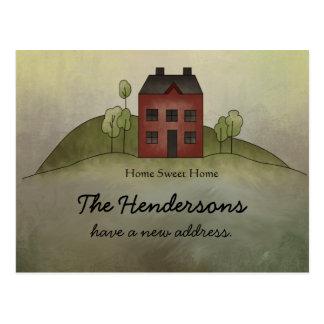 Ny adress vykort för hem- sötsakhem
