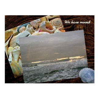 Ny adress vykort för kust- bosatt fotomall