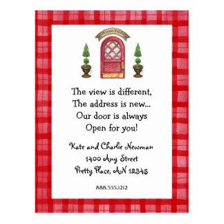 Ny adress vykort för röd dörr