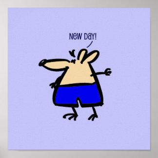 Ny dagtecknadmus i blått på en affisch