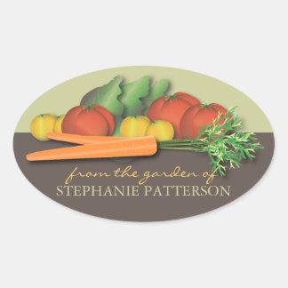 Ny grönsak från den trädgårds- ovalt klistermärke
