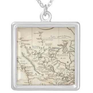 Ny karta av Nordamerika Halsband Med Fyrkantigt Hängsmycke