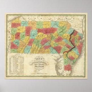 Ny karta av Pennsylvania - jersey och Delaware Poster