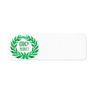 Ny mat för Bio lantgård för produktgröntvattenfärg Returadress Etikett