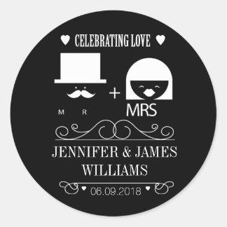 Ny mr & och mrs svartvita bröllopfavörer runt klistermärke