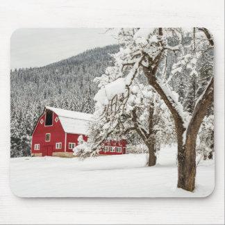 Ny snö på röd ladugård musmatta