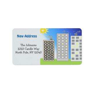 Nya adress högväxt byggnader adressetikett