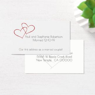 Nya adress nygift personhjärtor visitkort