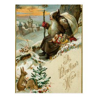 Nya år Santa för vintage Vykort