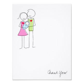 Nya föräldrar med pojken - tackkort 10,8 x 14 cm inbjudningskort