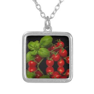Nya röda körsbärsröda tomater silverpläterat halsband