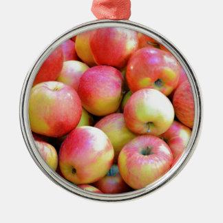 Nya röda och gula äpplen julgransprydnad metall