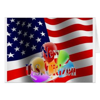 Nya U.S.-medborgareflagga och ballonger Hälsningskort