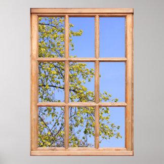 Nya vårlöv beskådar från ett fönster poster