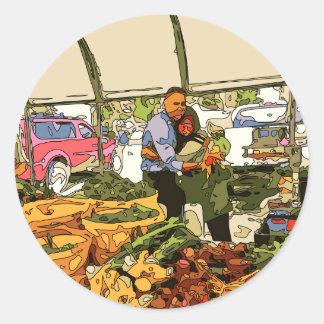 Nya Veggies på bönderna marknadsför Runt Klistermärke
