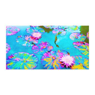 Nyanserade Lilypads med rosa näckrosor Canvastryck
