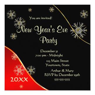 Nyårsaftonparty 2015 fyrkantigt 13,3 cm inbjudningskort