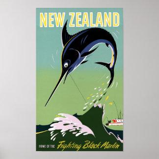 Nyazeeländsk återställd vintage resoraffisch poster