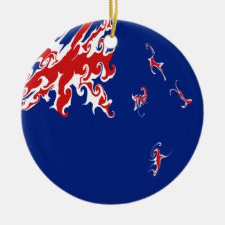 Nyazeeländsk Gnarly flagga Rund Julgransprydnad I Keramik