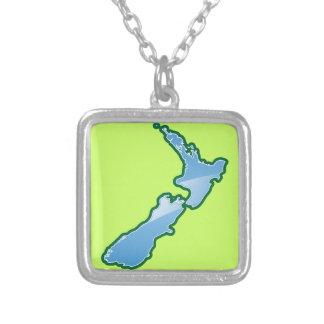 Nyazeeländsk KARTA Silverpläterat Halsband