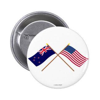 Nyazeeländsk och United States korsad flaggor Standard Knapp Rund 5.7 Cm