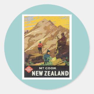 Nyazeeländsk vintage Mt.Cook Runt Klistermärke