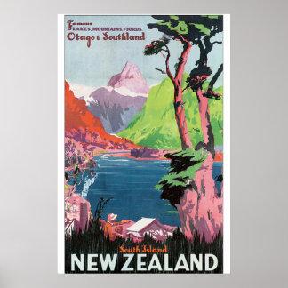 Nyazeeländsk vintage resoraffisch för södra ö poster