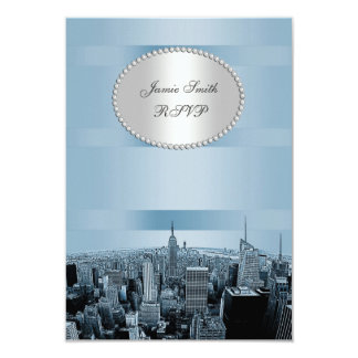 NYC etsad horisont 2A, svart blåttOSA 8,9 X 12,7 Cm Inbjudningskort