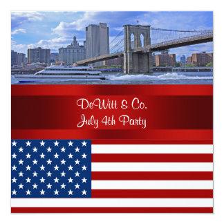 NYC-horisont Bklyn överbryggar för W-blått för USA Fyrkantigt 13,3 Cm Inbjudningskort