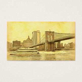 NYC-horisont Brooklyn överbryggar fartyget etsade Visitkort