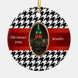 NYC-horisont: Empire state som bygger julafton #5 Julgransprydnad Keramik